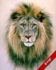 WILD AFRICAN LION HEAD W LARGE MANE ANIMAL PAINTING ART REAL CANVAS PRINT