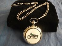 LEE ENFIELD MOTORCYCLE GREEN CHROME POCKET WATCH WITH CHAIN (NEW)