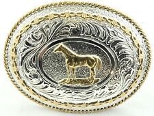 Justin / Two Toned Silver & Gold / Standing Horse Cowboy / Western Belt Buckle