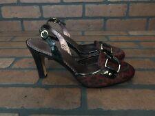 Cole Haan Burgondy Leopard Print Leather Heels Size 8