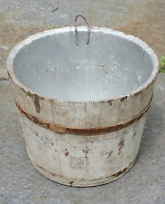 Antique Wooden Staved Sap Bucket Old White Paint - maple syrup