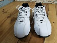 Nike Size 9.5 Leather Golf Shoes Cleats 418557 -101 TAC White Black D3