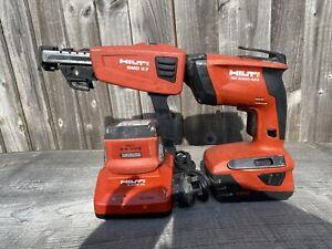 HILTI sd 5000-a22 + smd 57 drywall screwdriver 240v 2x 5.2ah 22v fast charger