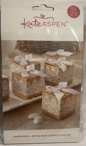 Kate Aspen set of 24 guest gift Boxes printed white lace pattern, satin bow.