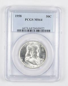 1958 MS64 Franklin Half Dollar - 90% SILVER - PCGS Graded *906