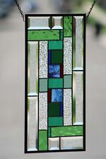 "(❁´◡`❁)Beveled Stained Glass Window Panel, Ready to Hang ≈ 10"" X  20"""
