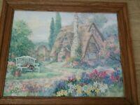 BARBARA MOCK Framed Print English Cottage Flowers Garden 3D Embroidered