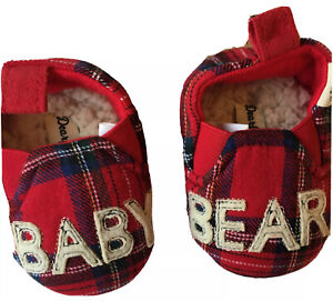 Dearfoams 3 6 months Slippers Baby Bear Washable Comfort Sherpa Red Plaid NWT