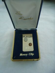 """Sir Lancelot After Taxes Money Clip 1"""" X 2"""" In Jewelry Case Gold Tone"""