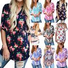 Women's Ladies Summer Loose Tops Long Sleeve Shirt Casual Blouse T-shirt V Neck