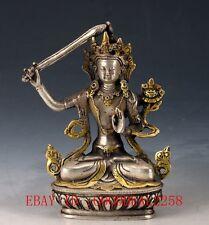 Chinese Silver Copper Gilt Tibetan Buddhist Statue - Manjusri Bodhisattva FX07