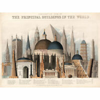 Emslie 1850 World Buildings Comparitive Chart Extra Large Art Poster