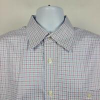 Orvis Blue Purple White Check Plaid Mens Dress Button Shirt Size Large L