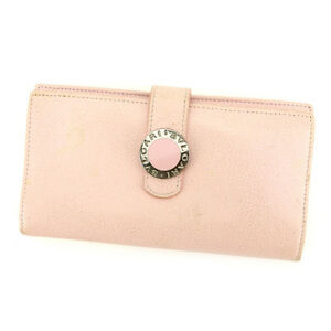 Bvlgari Wallet Purse Long Wallet Pink Woman Authentic Used C2238