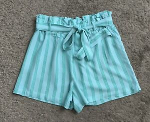 CHARLOTTE RUSSE Womens Size Medium Green Striped High Rise Belted Rayon Shorts