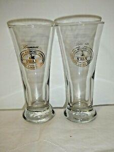 2 Premium Export Swan Lager Sturdy Hotel Quality Beer Glasses Gold Label 17cm Hi