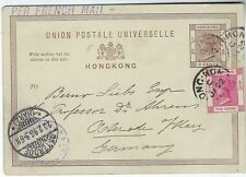 Hong Kong 1896 3c stationery uprated 2c to Germany
