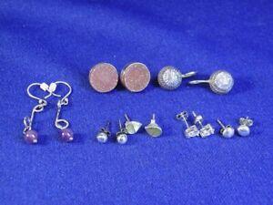 Lot 7 Pairs Sterling Silver Huggie Post Stud Dangle Pierced Earrings