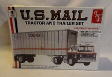 """LOOK! 1970`S AMT FORD C-900 CABOVER """"U.S. MAIL"""" TRACTOR TRAILER SEALED MODEL KIT"""