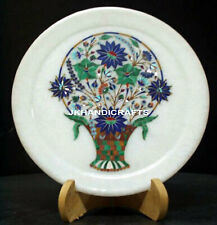 """10"""" Marble Serving Plate Marquetry Flowers In Vase Inlaid Living Room Decor"""