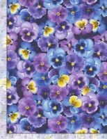 Pansy Fabric - Packed Blue & Purple Flower Floral - Timeless Treasures YARD