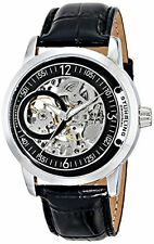 "Stuhrling 837 02 Mens ""Delphi"" Stainless Steel Automatic Leather Band Watch"