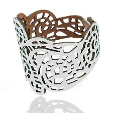 Boho Hippie White Faux Leather Lace Pattern Medieval Renaissance Wrap Bracelet