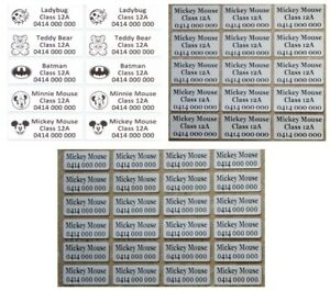 IRON ON Personalised Name Stickers / Label for clothing, waterproof
