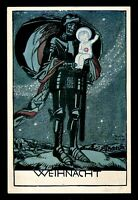 1930s German Empire Picture Postcard Germany Knight Warrior Christmas Wishes