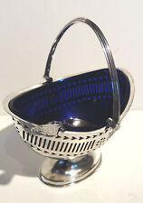 VINTAGE Argento Placcato salsa piatto con manico girevole & Blue Fodera in vetro + Cucchiaio