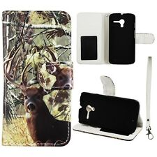 For Motorola Moto X Phone XT1055  Wallet Pu Leather White Tail Deer Case Cover