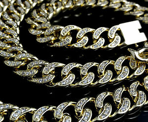 """Men's New Yellow Gold Finish Diamond Simulate Cuban Curb Chain Necklace 125g 24"""""""
