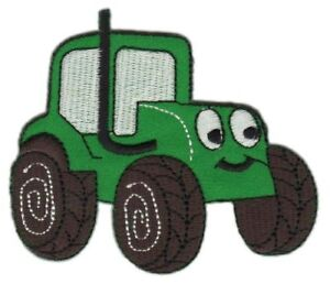 Ah39 Tractor Green Comic Sew-On Iron-On Application Patch 3 7/8x2 3/8in