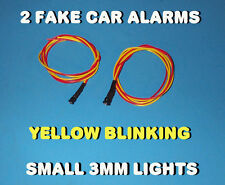 FAKE CAR ALARM LED LIGHT ~ 3mm ~ CHROME  YELLOW FLASHING 12v 24v BLINK FLASH