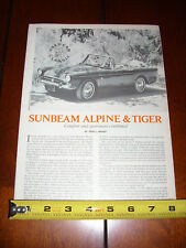 SUNBEAM TIGER / ALPINE - ORIGINAL 1978 ARTICLE