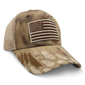 Mens Cotton Baseball Cap USA Army American Flag Tactical Trucker Hats Mesh Hat