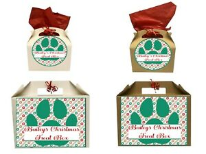 Personalised Christmas Cat Treat Gift Box Present Small or Large