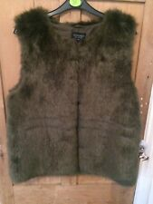 Top Shop Faux Fur Gillet Size 12 Green/Brown