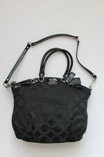 Coach Signature Madison Op Art Sateen Lindsey Satchel Bag Purse Tote 18649 Black