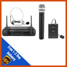 Pulse VHF Dual Wireless Handheld + Headset Microphone Mic System | DJ | PA