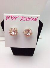 $25 Betsey Johnson Pink Faceted Stone Stud Earrings Marie Antoinette PK7
