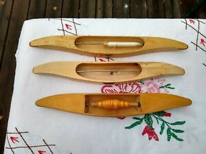 Three Swedish  Wooden Weaving Shuttles.