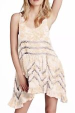FREE PEOPLE MS SZ Medium IVORY & PEACH FLORAL PRINTED TRAPEZE SLIP DRESS / TUNIC