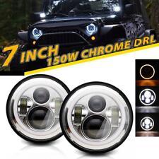 "2X 7""inch LED Headlight HI-LO Beam DRL Angel Eyes For AM General Hummer 92-01"