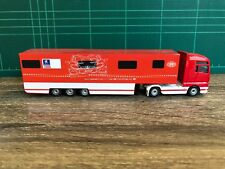 Majorette MAN Peugeot Trailer Container Truck 1/87  Red Car Racing Diecast