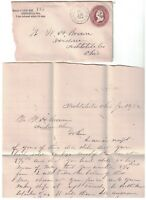 1882 US Cover w/ Letter - Ashtaula, Ohio to Andover, Ohio, K1