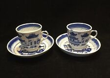 Pr. Canton Chinese Export Demitasse Cups & Saucers-Blue & White.      #2538