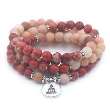 6mm Imperial Jasper 108 Beads Buddha Pendant Bracelet yoga Buddhism Unisex