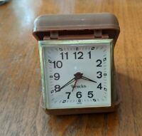 VINTAGE WESTCLOX TRAVEL ALARM CLOCK BROWN FOLDING HARD PLASTIC CLAMSHELL CASE