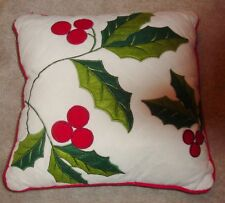 Nwot Home Collections Seasons Design Christmas quilted Pillow Holly Berry